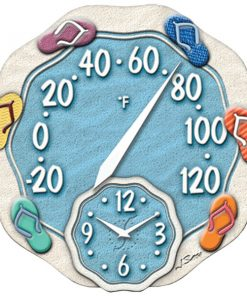 """Springfield(R) Precision 91620 12"""" Sandals Thermometer with Clock"""