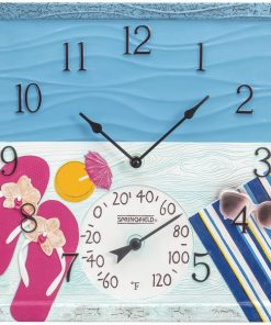 """Springfield(R) Precision 92670 14"""" At the Pool Poly Resin Clock with Thermometer"""