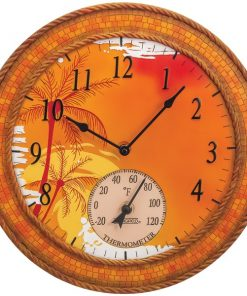 """Springfield(R) Precision 92671 14"""" Poly Resin Clock with Thermometer (Mosaic Palms)"""